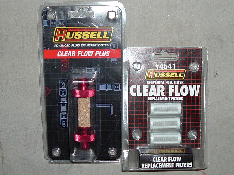 russell fuel filter, 6an fittings, and stainless steel braided fuel MTD Fuel Filter russell clear flow 6an fuel filter